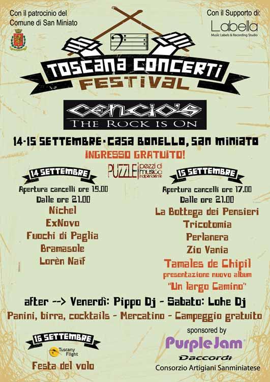 volantino festival toscana concerti cencios